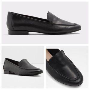 Aldo Black Leather Loafer Flats